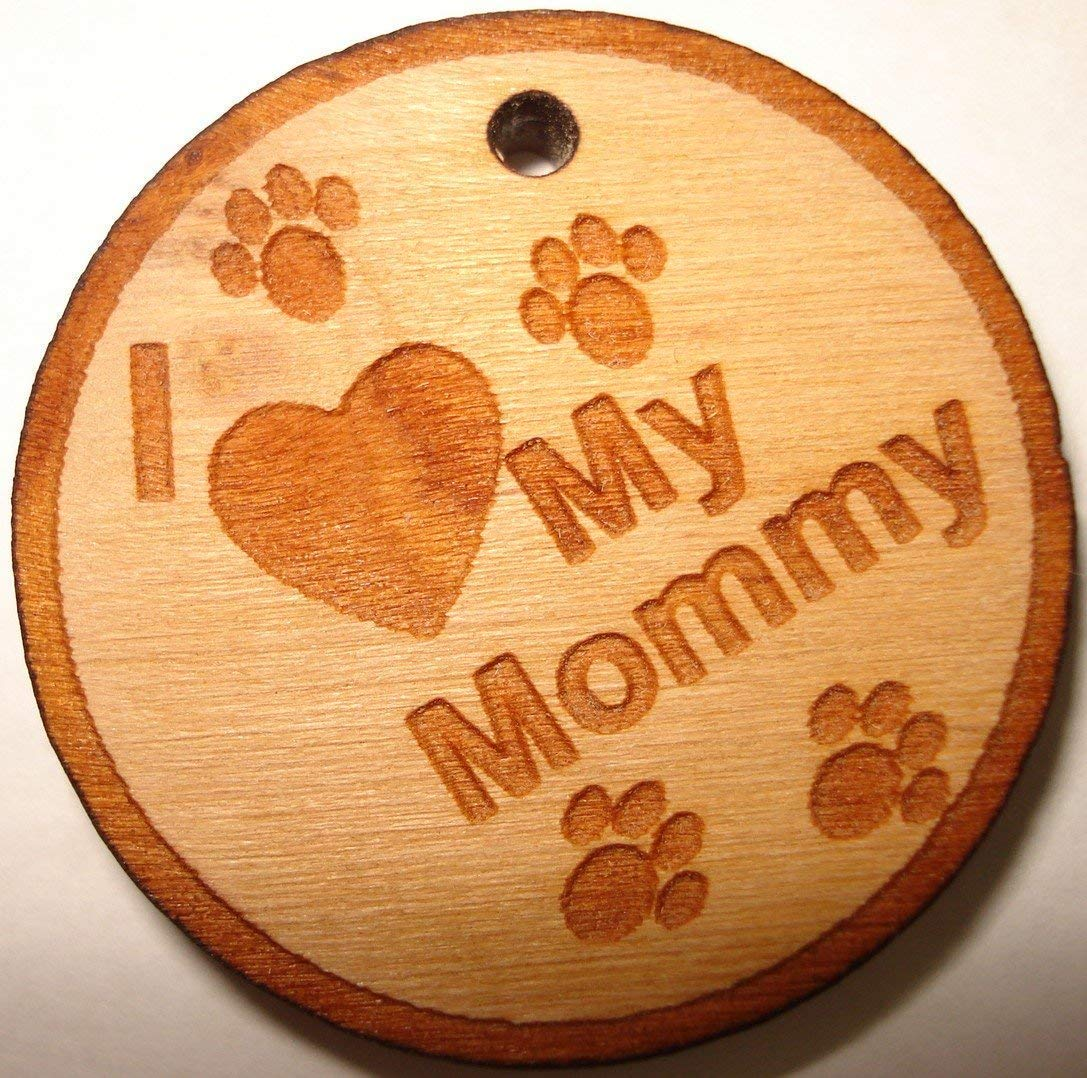 Pet ID Tag Laser Engraved Personalized Custom Solid Wood