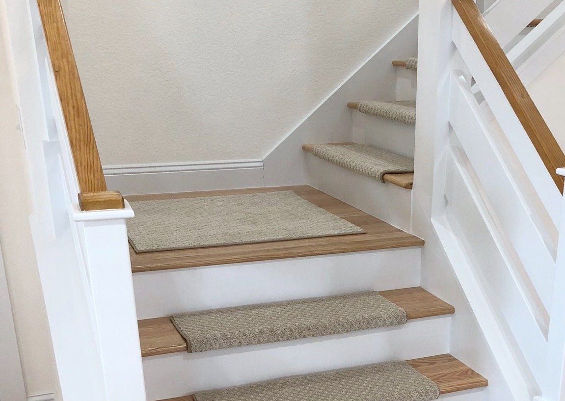 Tread Comfort Padded Adhesive Bullnose Stair Treads, Runners & Rugs Collection (Rug 2' by 3', Beige)