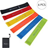 MARNUR Leg Exercise Bands Resistance Workout Loop Fitness Band Yoga Arm Pilates Stretch Elastic Rehab Training Set for Women Men Home Office (6 PCS)