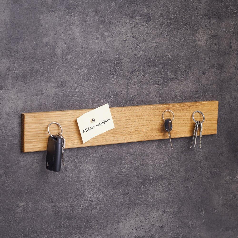WOODS Schlüsselbrett magnetisch Holz - viele Varianten (in Bayern handgefertigt) 45cm Eichen-Schlüsselhalter mit Magnet Moderne Schlüsselleiste als Board Schlüssel-Aufhänger Eichenholz B01A489RJ2 Schlüsselhaken