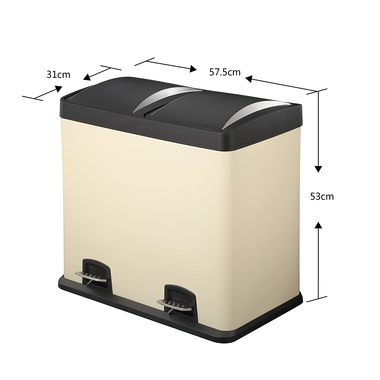 Lyndan - 48 Liter 48L großer creme Stahl Treteimer mit Deckel und Doppelt, Küche, Garage, Schuppen und Heimgebrauch Recyceln Mülleimer Müll Abfall Eco Mülleimer Recycling Küche
