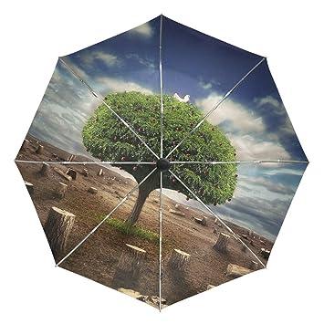vipsk automática paraguas, resistente al viento ligero resistente al viento anti verde árbol simboliza una
