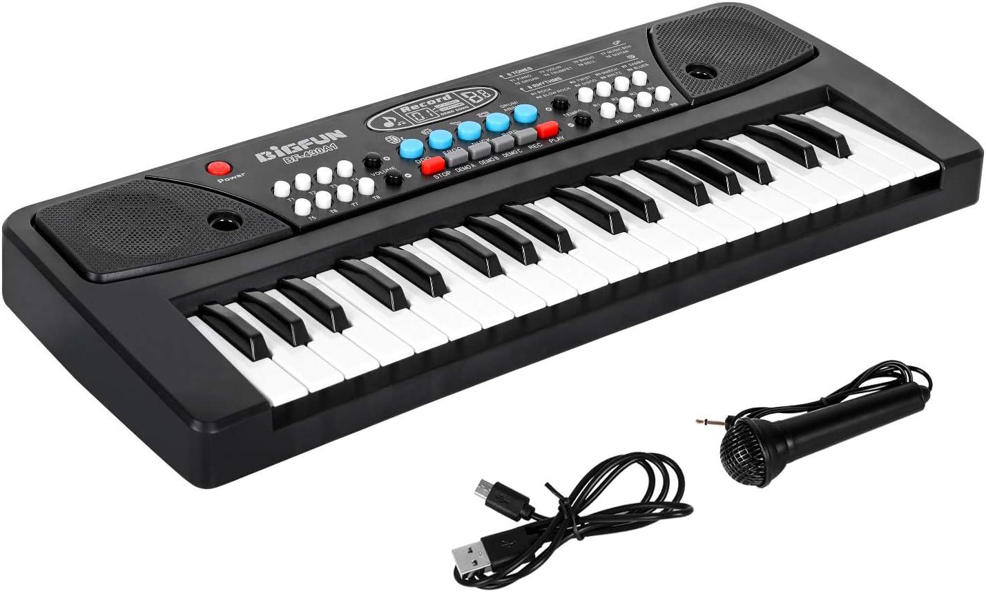Shayson Teclado de Piano portatil, 37 Teclas Juguete de Música Multifuncional Teclado Electrónico Piano con Micrófono Regalo Educativo para Principiantes de Niños Niña Bebés