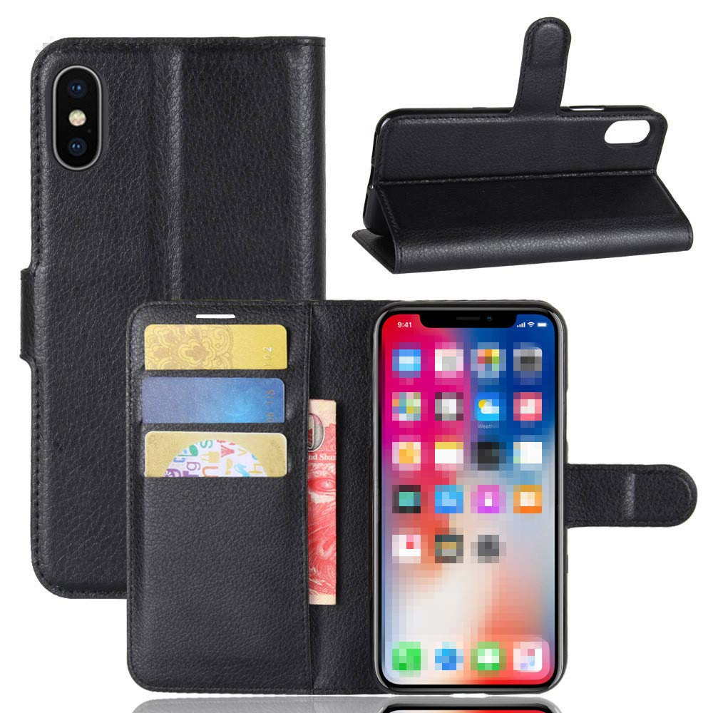 iPhone X CASE, Verde Accessories Premium iPhone X/10 Wallet case with 6ft iPhone USB Charger Bundle, Durable and Slim Wallet Cover with Kickstand Feature Card Slots (Black)