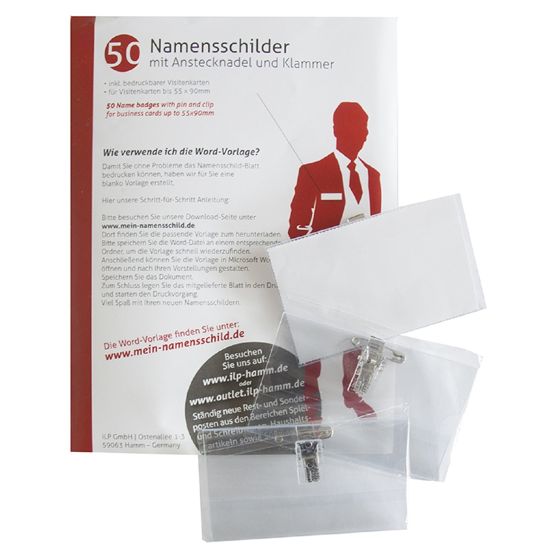 Ilp 50 Premium Kunststoff Namensschilder Mit Halterclip Und