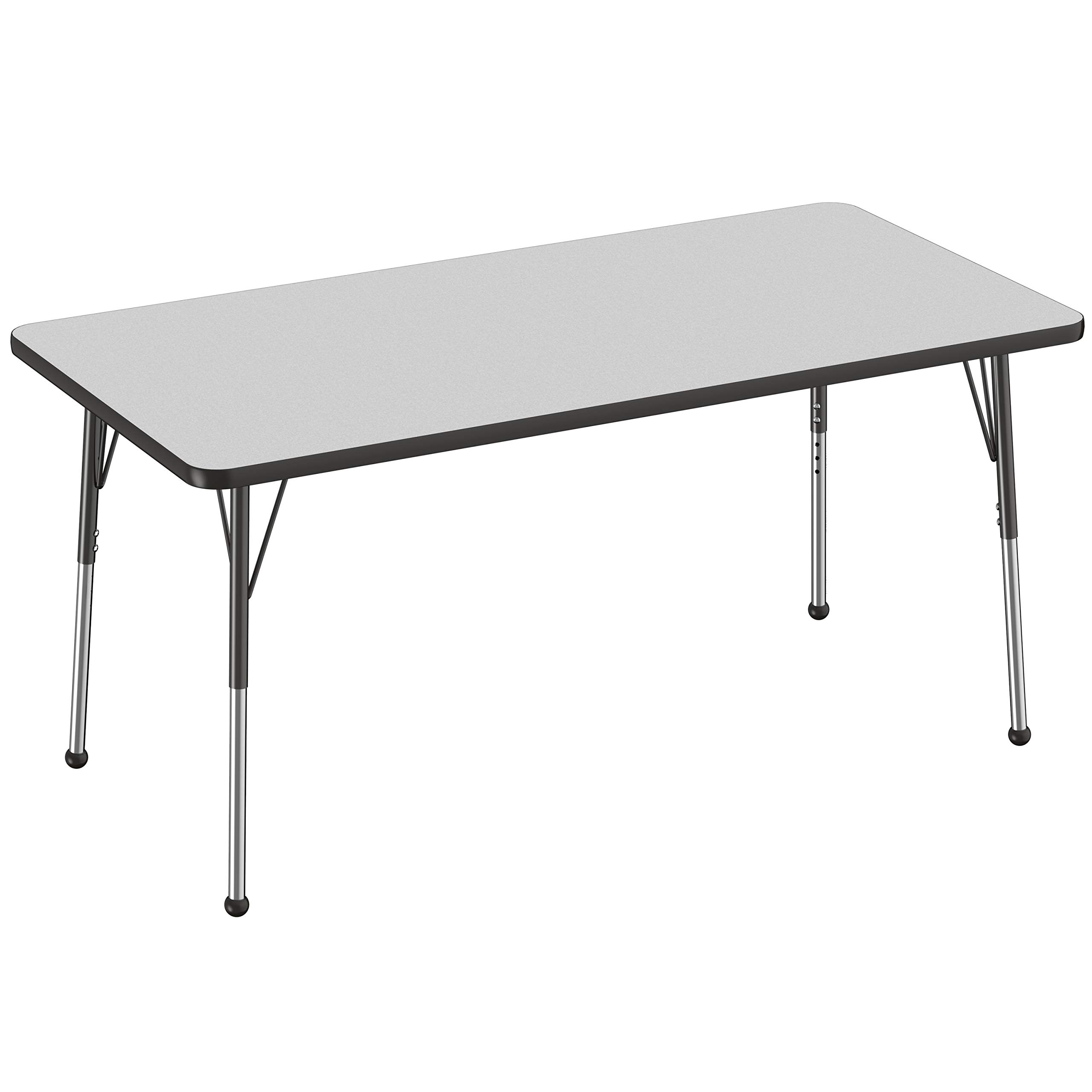 FDP Rectangle Activity School and Office Table (30 x 60 inch), Standard Legs with Ball Glides, Adjustable Height 19-30 inches-Gray Top and Black Edge by Factory Direct Partners