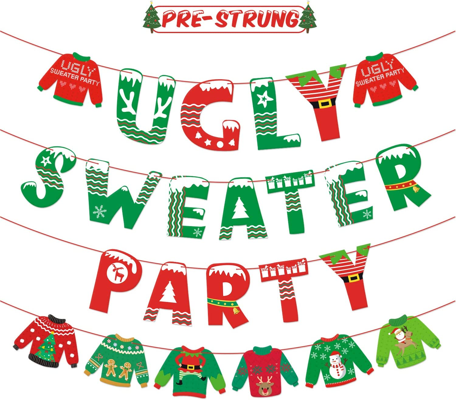Bessmoso Ugly Sweater Party Banner Tacky Christmas Sweater Photo Props Garland for Wintertime Holiday Christmas Party Decorations Office Xmas Party Supplies