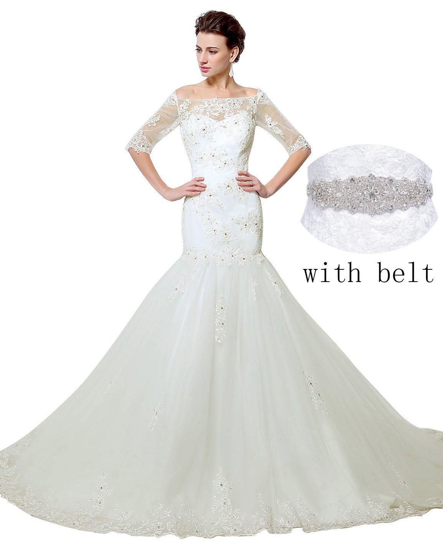 Sarahbridal Womens Mermiad Tulle Wedding Dresses Half Long Sleeve Applique Bridal Gwons Ivory US10