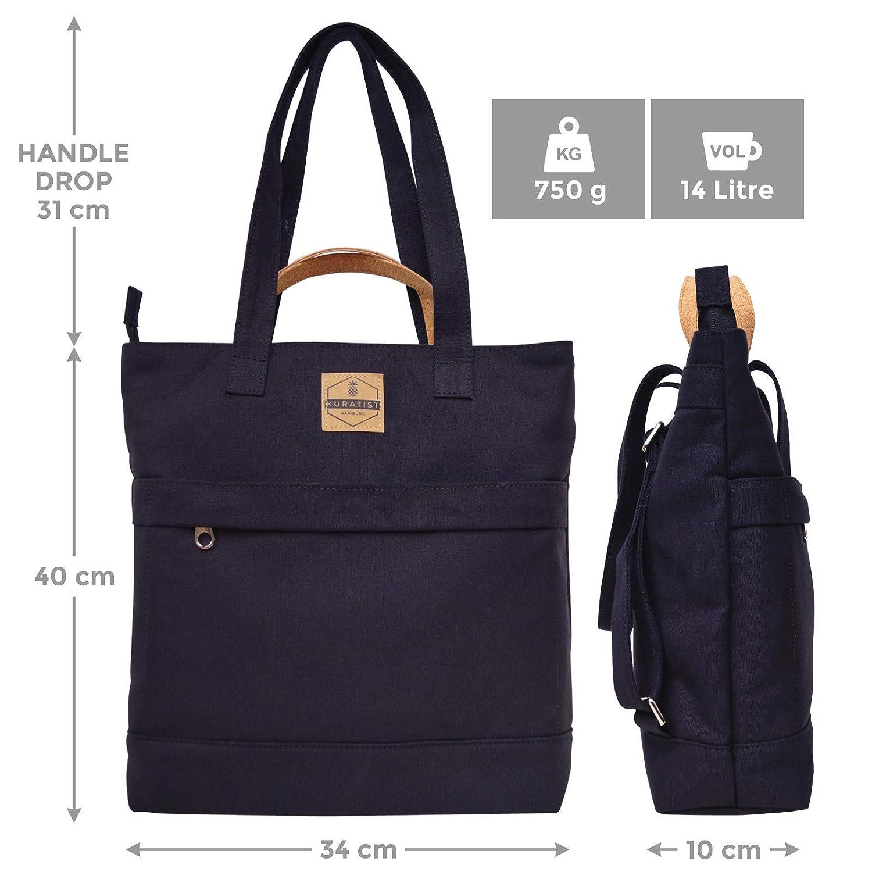 Kuratist 3-i-1 cabriolet canvas totepack ryggsäck (14 L) vattenavvisande (lämplig för 13,3 tum laptops) för uni arbete resor shopping Svart (Black)