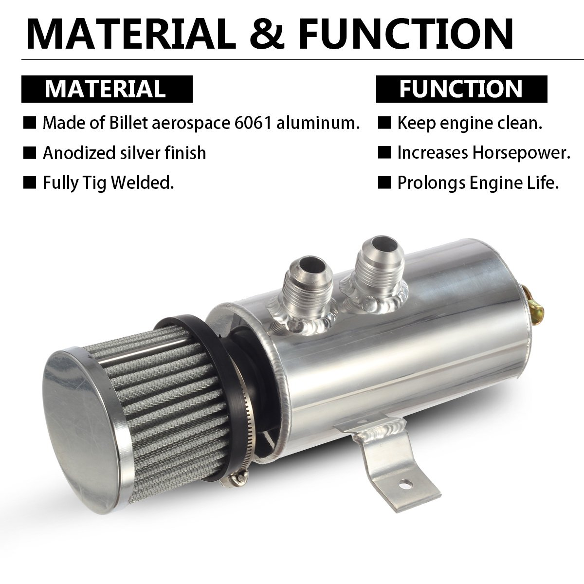Vincos Universal Aluminum Engine Brushed Baffled Oil Chrysler 3 8 Coolant System Diagram Catch Can Kit Overflow Tank Reservoir 750ml W Breather Filter Cylinder 2 Front