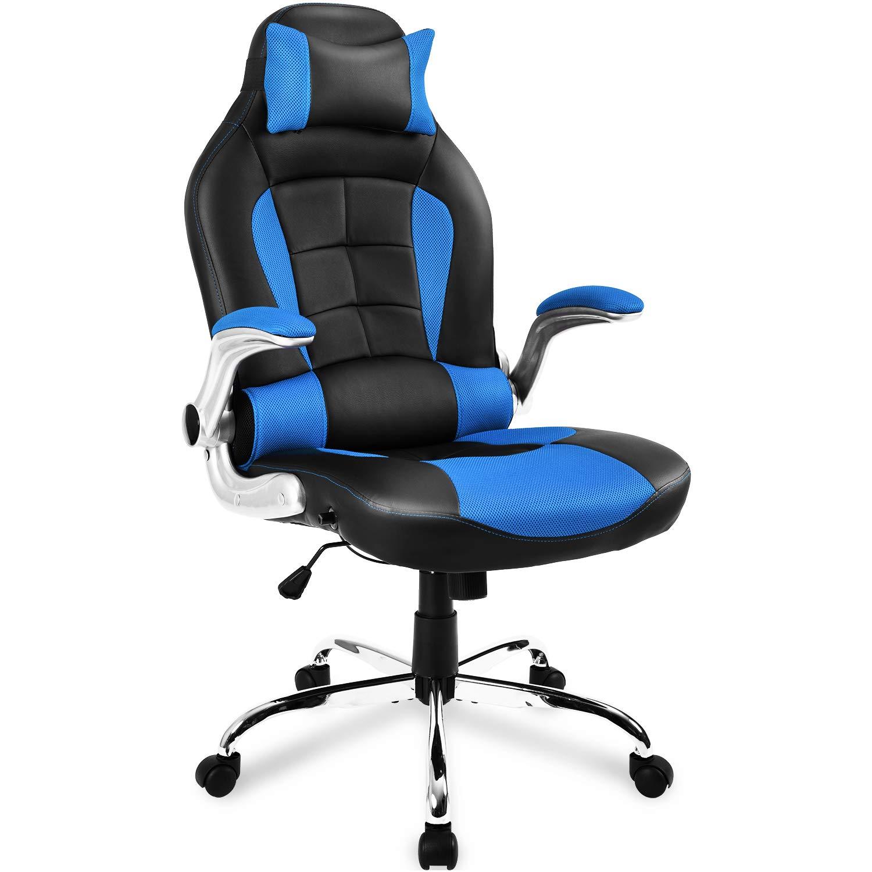 LIFE CARVER Schienale ergonomico PU sedia girevole da scrivania supporto lombare sedia reclinabile sedia Napping (blu e nero)
