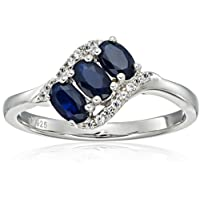 Sterling Silver Genuine Blue Sapphire And Created White Sapphire 3-stone Engagement Ring