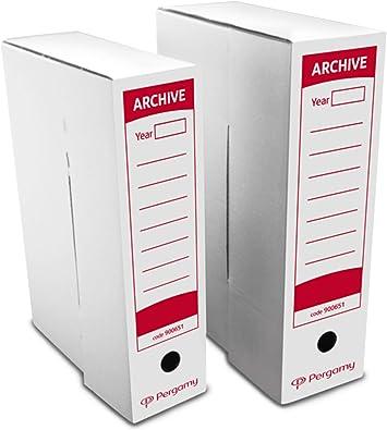 Pergamy 900653 - Caja de archivo definitivo, 430 x 316 x 116 mm, color blanco: Amazon.es: Oficina y papelería
