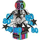 Creative Converting Party Decoration Metallic Foil Cascading Centerpiece, Milestone Celebrations 80th