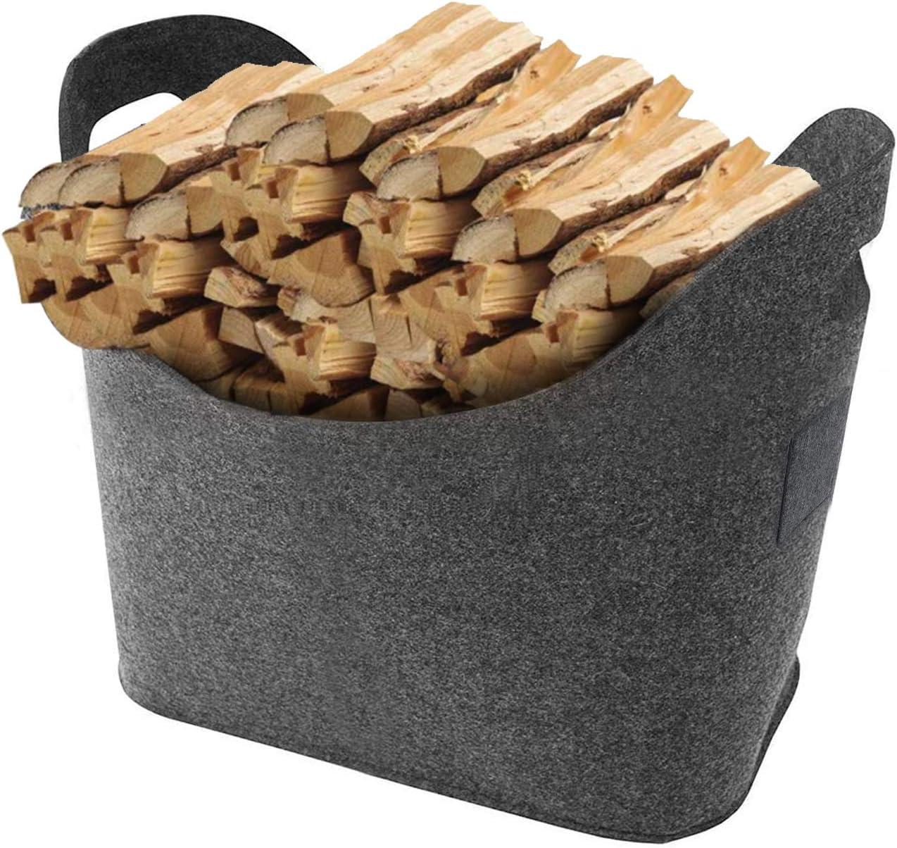 Bolsas de fieltro para leña, cesta de fieltro con asas, plegable, cesta de fieltro, cesta para leña, cesta de la compra, cesta para periódicos, bolsa de fieltro (Gris oscuro)