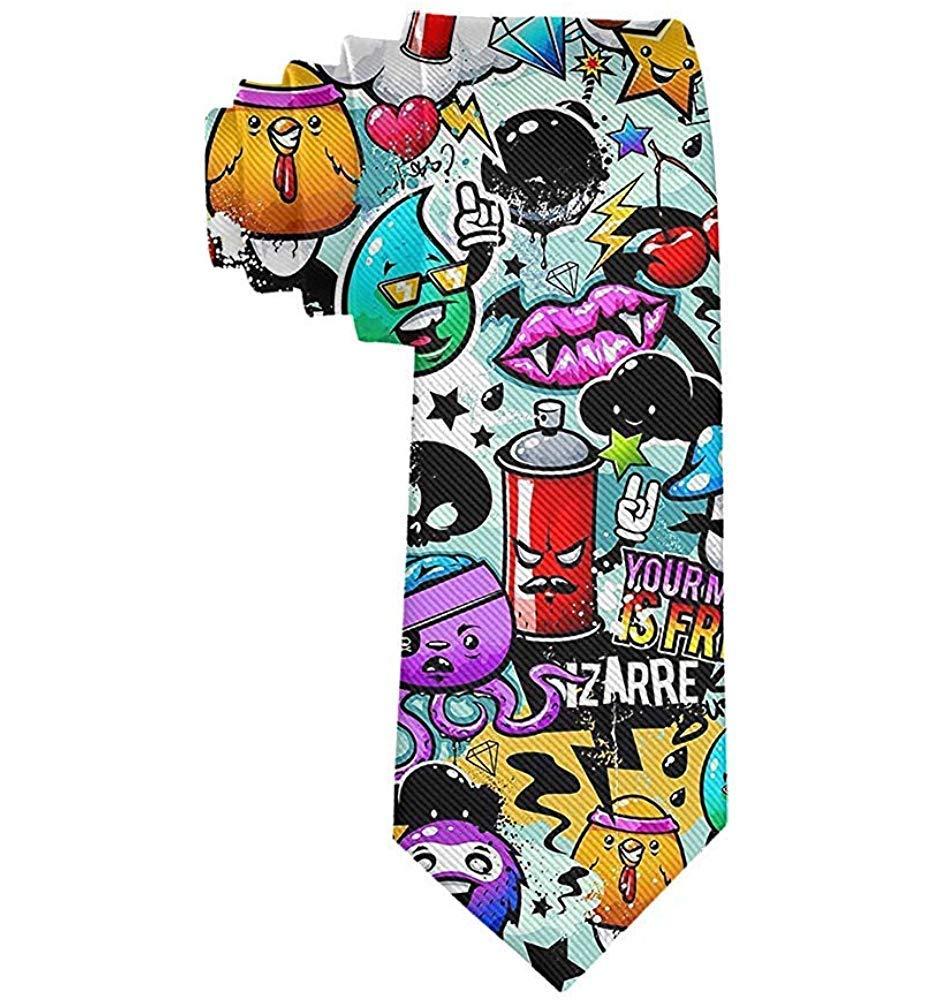 Corbata de hombre Corbata de moda de graffiti de dibujos animados ...