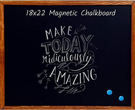 Amazon Com Wood Framed Chalkboard Premium Magnetic 18 X 22 Rustic Chalk Board Great With Regular Or Liquid Chalk Markers Non Porous Wall Hanging Blackboard Sign Office Products