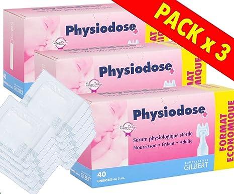Physiodose Sérum physiologiques Lot de 3 boîtes de 40 unidoses + 10 Sachets de 2 Compresses