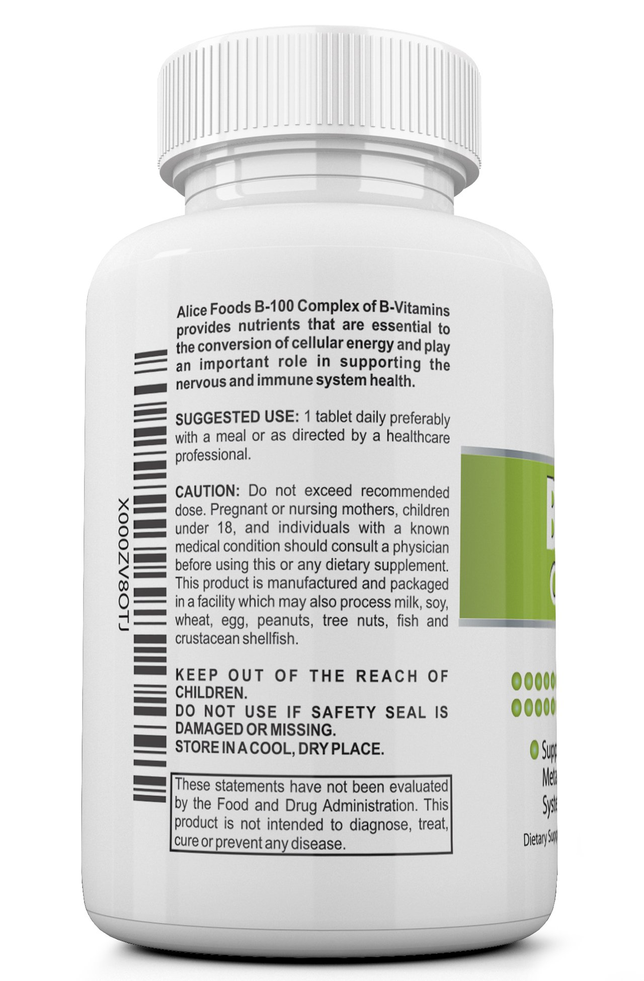 Time Released Vitamin B-100 Complex - 50 Coated Tablets Slow Release by Alice Foods (Image #2)