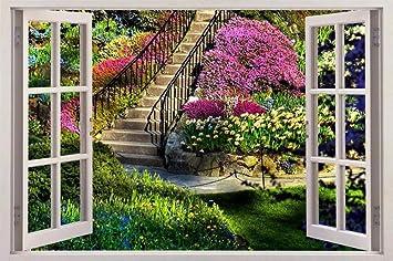 Ventana de efecto 3d Vista del jardín Ventanas falsas Pegatinas de pared Ventanas de imitación extraíbles Vinilo decorativo 60x90cm: Amazon.es: Bricolaje y herramientas