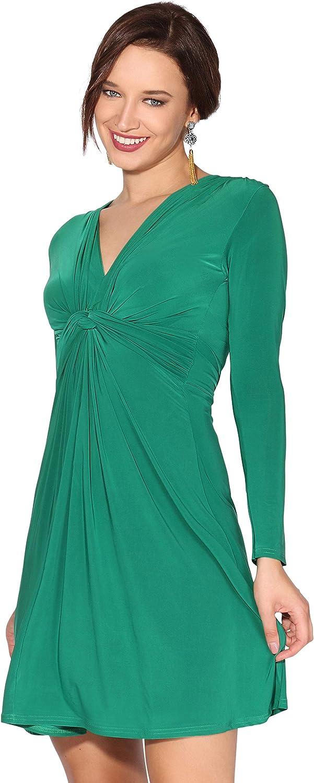 TALLA 44. KRISP Vestido Mujer Corto Talla Grande Boda Noche Manga Cóctel Fiesta Elástico Plisado Elegante Ceremonia Verde Oscuro (9878) 44