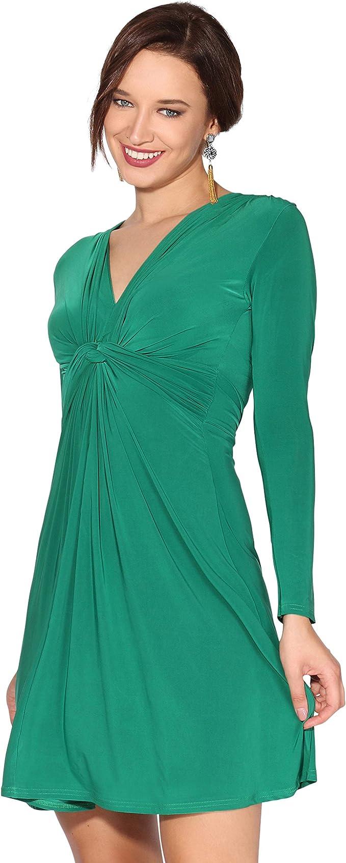 TALLA 44. KRISP Vestido Mujer Verano Corto Cruzado Casual Estampado Bohemio Flores Verde Oscuro (9878) 44