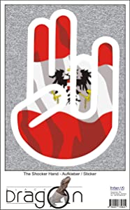 The Shocker Hand Decal Sticker Laptop skin 297x205 mm white Outline with Flag Austria