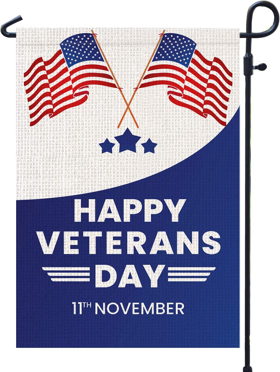 "PAMBO Happy Veterans Day Garden Flag Vertical Double Sided, 11th November Veterans Flag Decoration for Outdoor & Yard American Flag12.5"" x 18"""