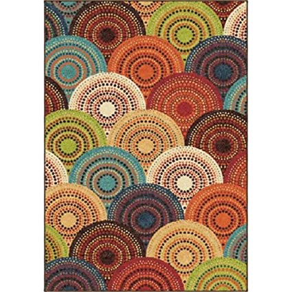 abffceb410b Amazon.com  Extremely Durable Bright Dotted Circles Area Rug and Runner  (1 10