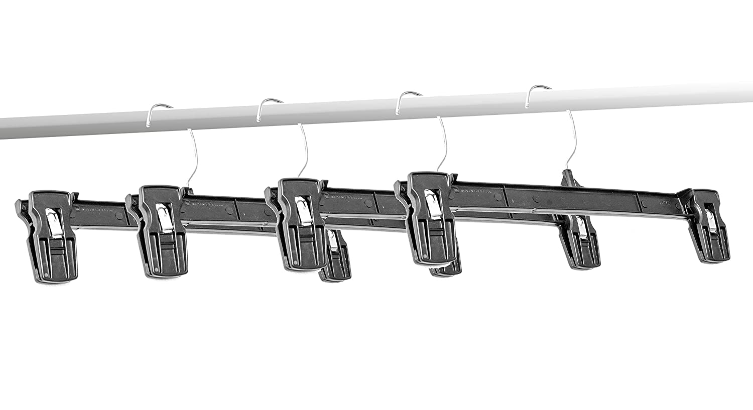 Stores and Home Amiff Clothes Hangers Plastic Hangers for Pants and Skirts Non-Slip Grip and Fixed Hook Storage and Organization. 10 Pinch Grip Hangers Pack of 10 Black Hangers