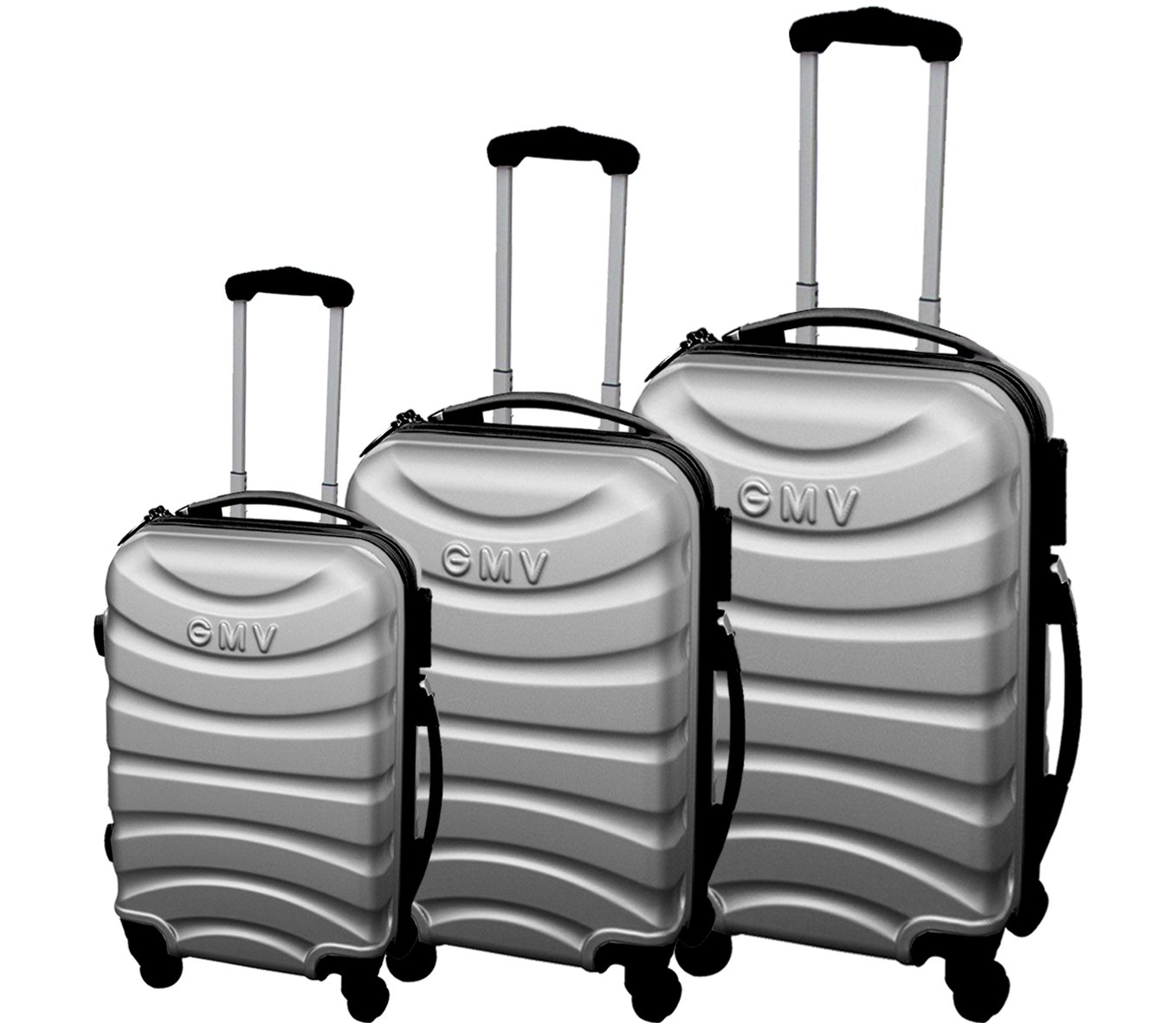 Set of suitcases Hard Shell ABS 4 wheel Spinner Lightweight Hand Luggage Cabin Travel Trolley (Silver) by Gianmarco Venturi