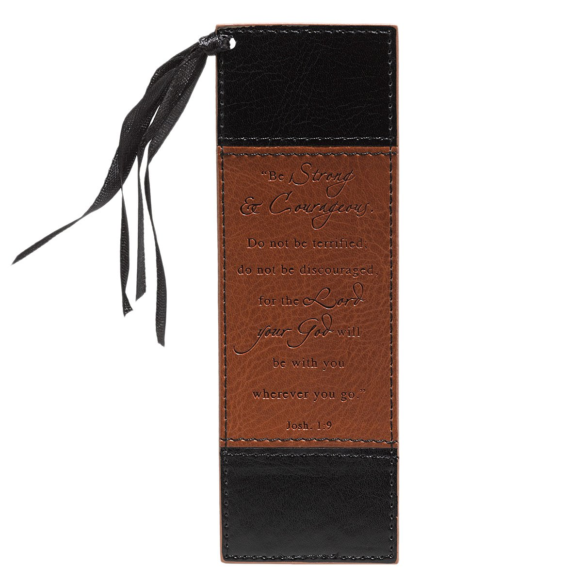 Strong & Courageous Two-Tone Faux Leather Pagemarker / Bookmark - Joshua 1:9 PDF