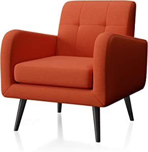 JustRoomy Modern Accent Chair Fabric Armchair Living Room Chair Upholstered Arm Chair Comfy Mid-Century Leisure Lounge Chair Single Sofa Side Chair for Living Room Bedroom Office, Orange