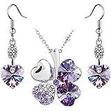 Le Premium® Boucles d'oreilles cristal Swarovski® Pendentif coeur trèfle mis en violette