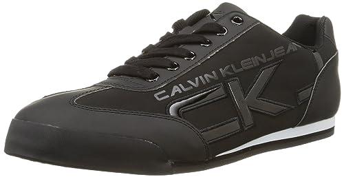 Cale Matte Smooth/Patent - Zapatillas para Hombre, Nero (Nero), 43 Calvin Klein