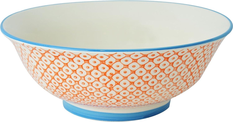 Nicola Spring Patterned Salad / Fruit / Serving Bowl - 203mm (8 Inches) - Orange / Blue Design