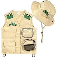 Kidz Xplore Outdoor Adventure Kit for Young Kids - Cargo Vest and Hat Set Backyard Explorer Safari Costume and Dress Up…