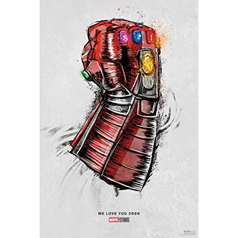 Jacobera Avengers Endgame Iron Man Infinity Gauntlet Poster Love You 3000,  Decorative Painting Cloth Wall Art Mural Home Decor for Bedroom/Living Room