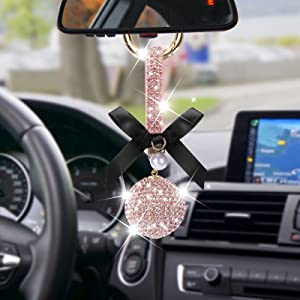 Bling Car Mirror Hanging Accessories for Women, Cute Lucky Car Interior Rear View Mirror Decor Hanging Crystal Rhinestone Diamond Ball Accessories Charms for Women Girl (Pink1)