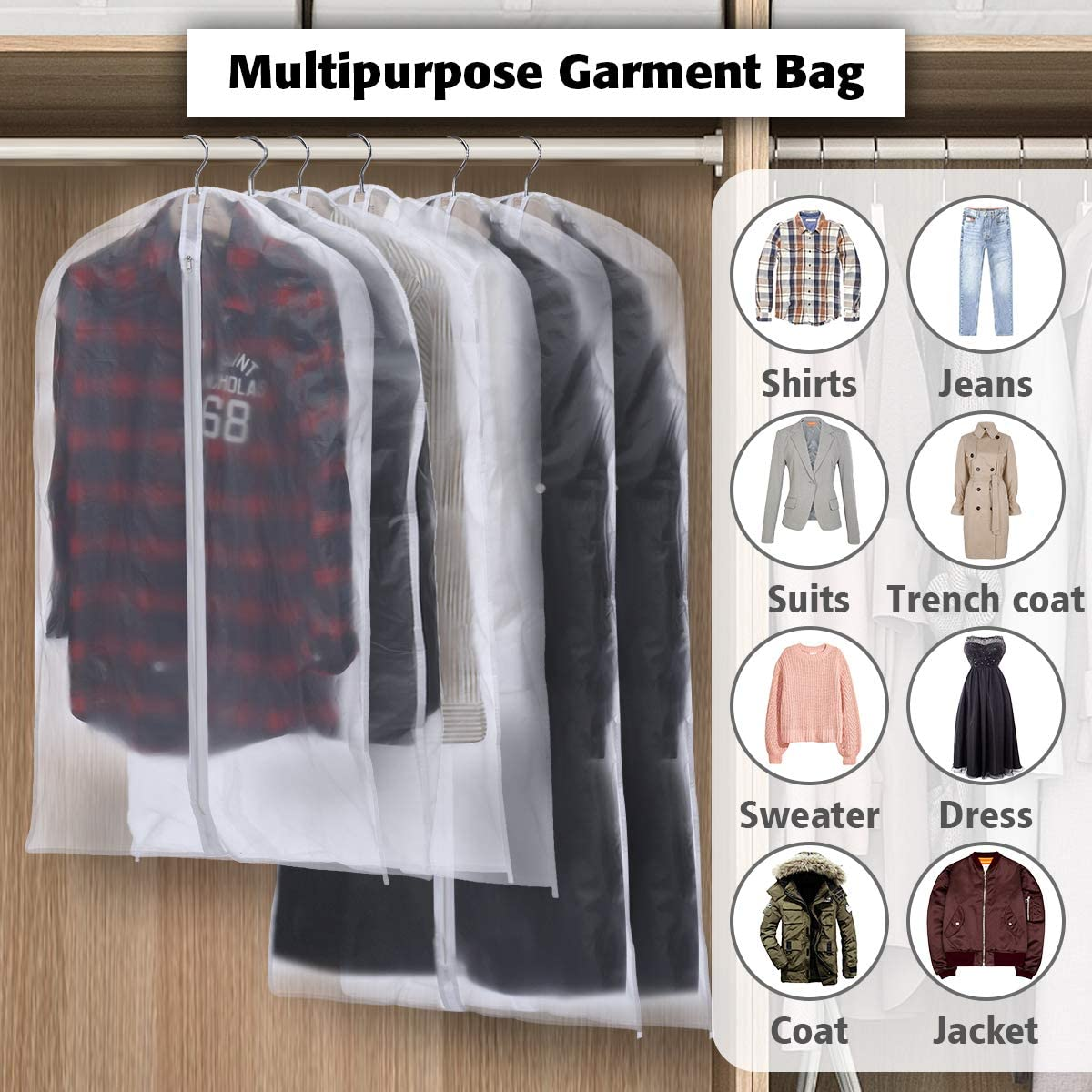"KingSo 43/""//50/"" Hanging Garment Bags Clear Suit Bags with Full Zipper for Dress Coats Jackets Sweater Closet Storage and Travel Set of 6"