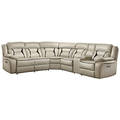 Homelegance Amite 6 Piece Power Reclining Sectional Sofa With Cup Holder  Console Leather Gel Matched