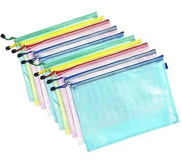 Tesan A4 tamaño Malla bolsillos - Carpeta archivador carpeta de archivos de Zip bolsa de documentos con cremallera para cosméticos Oficinas Supplies ...