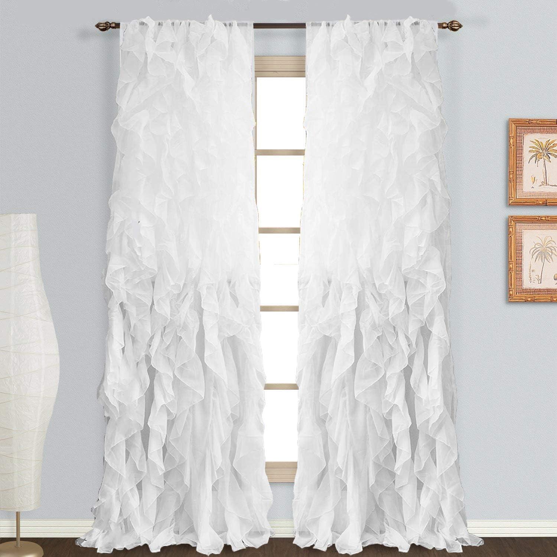 Rooney Sheer Voile Vertical Ruffled Window Curtain Panel (White, 2 Panels 50