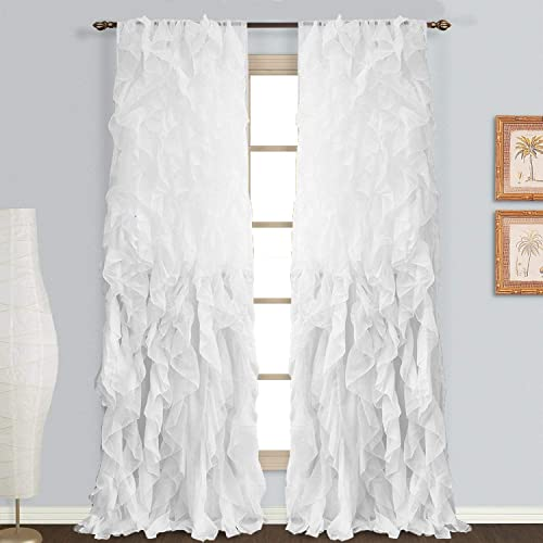 Rooney Sheer Voile Vertical Ruffled Window Curtain Panel White, 2 Panels 50 x 95