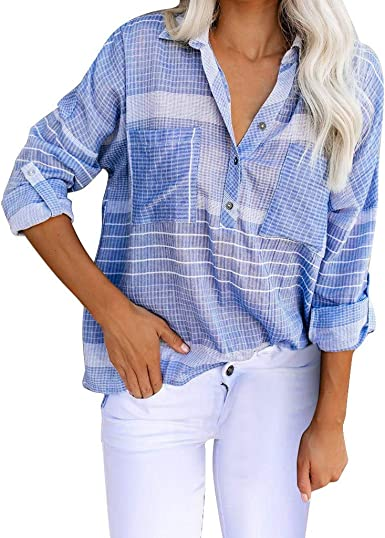RISTHY Camisas Mujer Elegantes Tallas Grandes, Camisetas Manga Larga Camisetas Rayas Mujer Verano Tops Mujer Primavera Camisetas Mujer Sueltas Oficina Trabajo Fiesta Blusas: Amazon.es: Ropa y accesorios