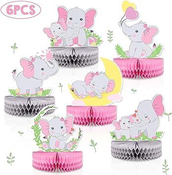 6 piezas de centros de mesa con diseño de elefante rosa para bebé ...