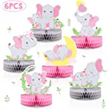 6 PCS Pink Elephant Honeycomb Centerpieces Baby Girl It's A Girl Table Decorations Pink Little Peanut Cutouts For Pink…