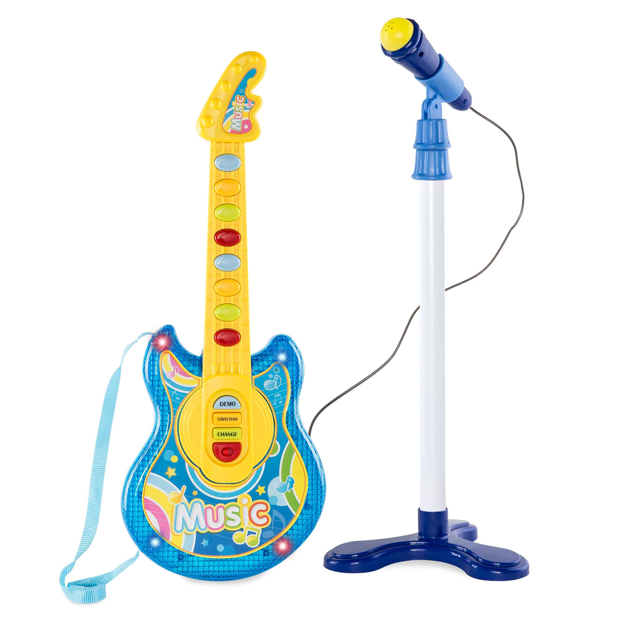 Best Choice Products 19in Kids Toddlers Flash Guitar Pretend Play Musical Instrument Toy w/ Mic, Stand, MP3 Compatible- Blue