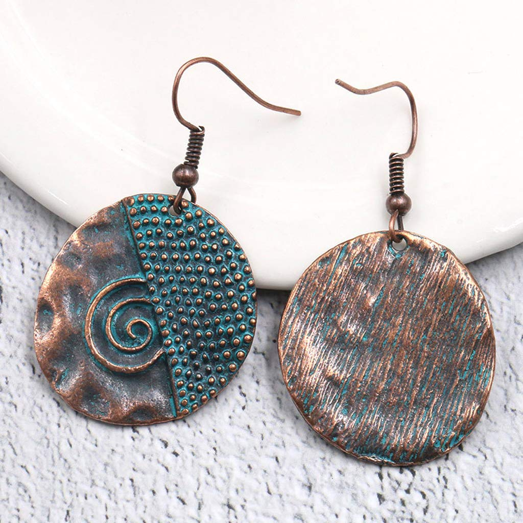 Princegame Irregular Round Wave Dots Spiral Drop Earrings Bohemia Beach Holiday Jewellery