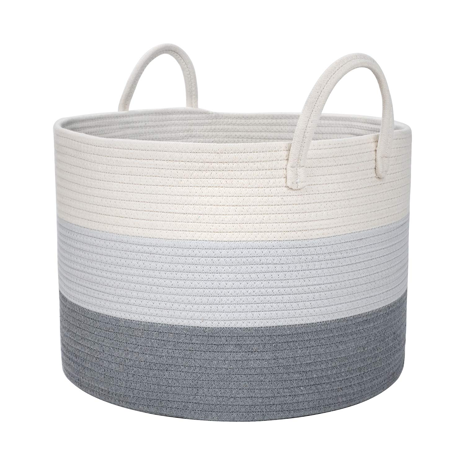 DOKEHOM X-Large Storage Baskets -19.7 Inches(D) x 13 Inches(H)- Cotton Rope Basket Woven Baby Laundry Basket with Handle for Diaper Toy Cute Neutral Home Decor (White/Grey, XL)